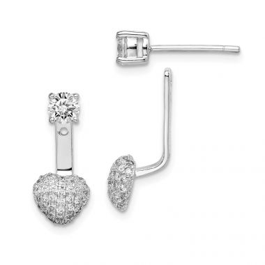 Quality Gold Sterling Silver Rhodium plated CZ Dangle Heart Front & Back  Earrings