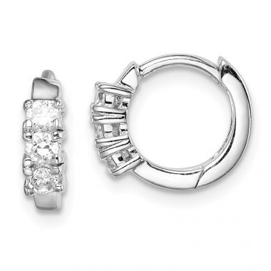 Quality Gold Sterling Silver Rhodium-plated 3-stone CZ 2x11mm Hinged Hoop Earrings
