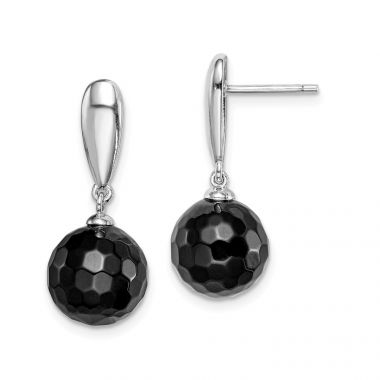Quality Gold Sterling Silver Rhodium-plated Faceted 10mm Onyx Dangle Post Earrings