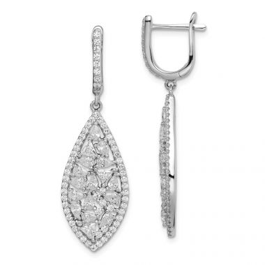 Quality Gold Sterling Silver Rhodium-plated Geometric CZ Leverback Dangle Earrings