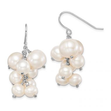 Quality Gold Sterling Silver Rhod-plat 6mm to 10mm White FWC Pearl Dangle Earrings