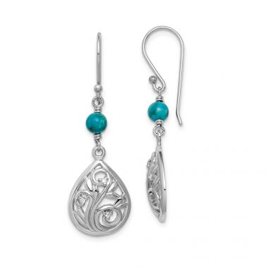 Quality Gold Sterling Silver Rhodium-plated Compressed Turquoise CZ Dangle Earrings