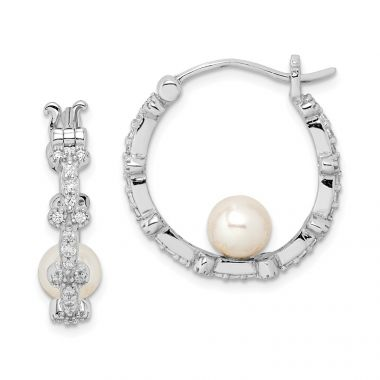 Quality Gold Sterling Silver Rhod-plat 5-6mm White Round FWC Pearl CZ Hoop Earrings