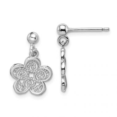Quality Gold Sterling Silver Rhodium-plated Polished Filigree Flower Dangle Earrings