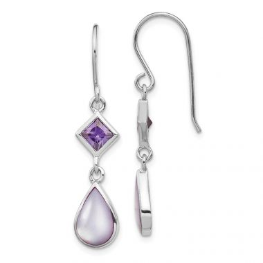 Quality Gold Sterling Silver Rhodium-plated Purple CZ and Purple MOP Dangle Earring