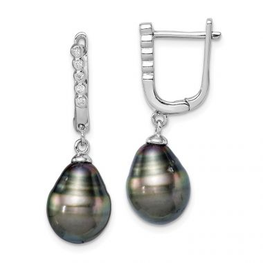 Quality Gold Sterling Silver Rhod-plat 9-10mm Tahitian Drop Pearl CZ Dangle Earrings