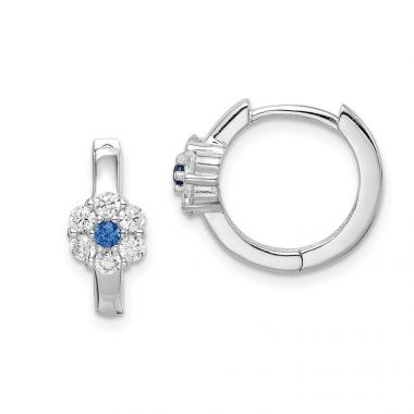Quality Gold Sterling Silver Rhodium-plated Created Spinel &  CZ Flower Hoop Earrings
