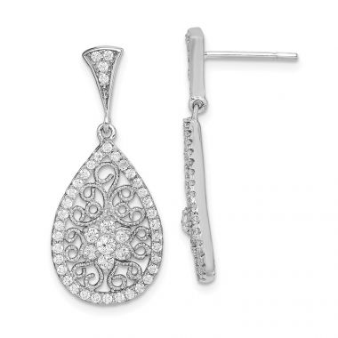 Quality Gold Sterling Silver Rhodium-plated CZ Filigree Teardrop Dangle Post Earrings