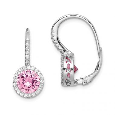 Quality Gold Sterling Silver Rhodium-plated Pink & White CZ Leverback Dangle Earrings