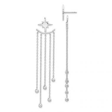 Quality Gold Sterling Silver Rhodium-plated Star Posts & Dangle Bead Jackets Earrings