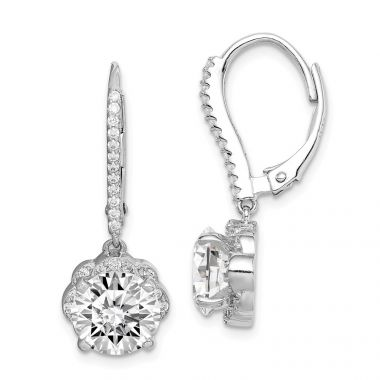 Quality Gold Sterling Silver Rhodium-plated White CZ Flower Leverback Dangle Earrings