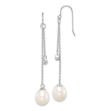 Quality Gold Sterling Silver Rhod-plat 9-10mm White Rice FWC Pearl CZ Dangle Earrings