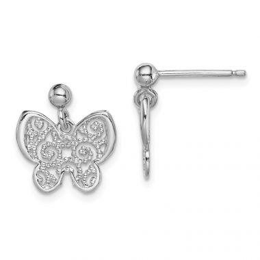 Quality Gold Sterling Silver Rhodium-plated Polished Filigree Butterfly Dangle Earring