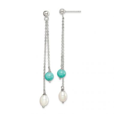 Quality Gold Sterling Silver Turquoise & Freshwater Cultured Pearl Post Dangle Earrings
