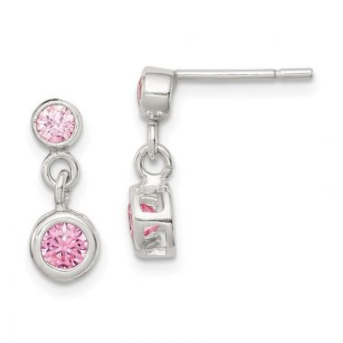 Quality Gold Sterling Silver Pink CZ Dangle Post Earrings