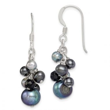Quality Gold Sterling Silver Black FW Cultured Pearls & Onyx Dangle Earrings