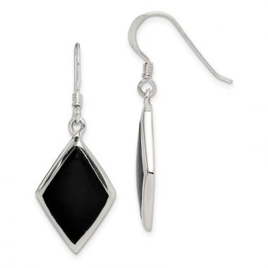 Quality Gold Sterling Silver Black Stone Dangle Earrings