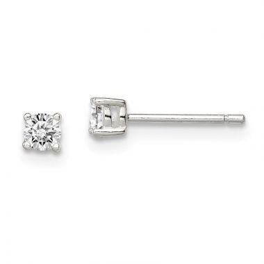 Quality Gold Sterling Silver 3mm Round Basket Set CZ Stud Earrings