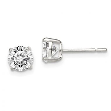 Quality Gold Sterling Silver 6mm Round Basket Set CZ Stud Earrings