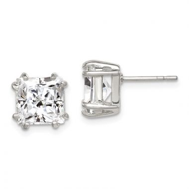 Quality Gold Sterling Silver Princess CZ Stud Earrings