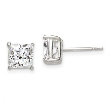 Quality Gold Sterling Silver 6mm Princess Basket Set CZ Stud Earrings