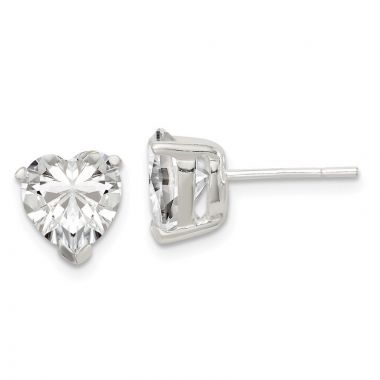 Quality Gold Sterling Silver 8mm Heart Basket Set CZ Stud Earrings