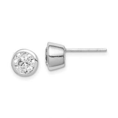 Quality Gold Sterling Silver 6mm CZ Round Bezel Stud Earrings