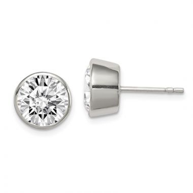 Quality Gold Sterling Silver 9mm CZ Round Bezel Stud Earrings