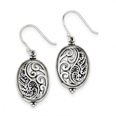 Quality Gold Sterling Silver Antique Oval Yin Yang Dangle Earrings
