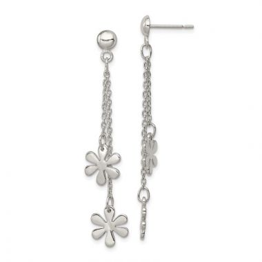 Quality Gold Sterling Silver Flower Dangle Post Earring