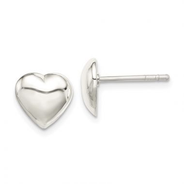 Quality Gold Sterling Silver Heart Stud Earrings