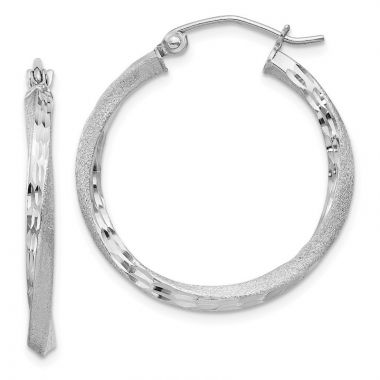 Quality Gold Sterling Silver Rhodium-plated Satin &  Twist Hoop Earrings