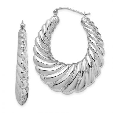 Quality Gold Sterling Silver Rhodium-plated Fancy Shrimp Hoop Earrings
