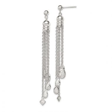 Quality Gold Sterling Silver CZ Dangle Post Earrings