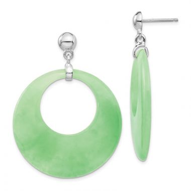 Quality Gold Sterling Silver Rhodium-platedJade Circle Dangle Post Earrings