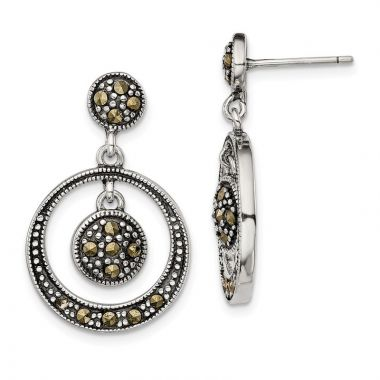 Quality Gold Sterling Silver Marcasite Circle Dangle Post Earrings