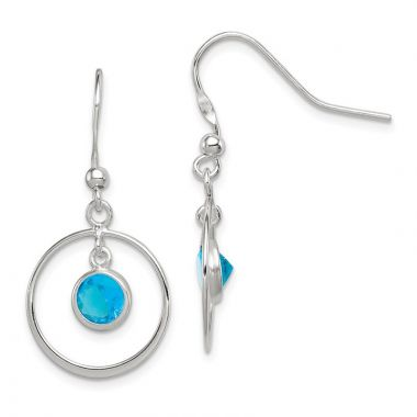 Quality Gold Sterling Silver Circle Dangle Blue CZ Earrings