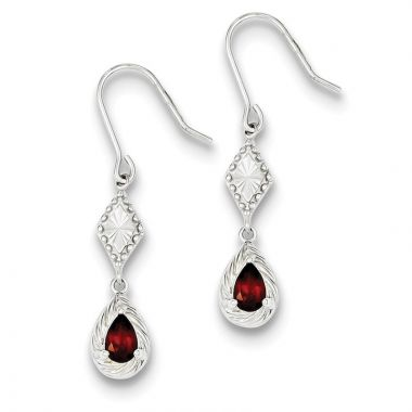 Quality Gold Sterling Silver Dark Red CZ Dangle Earrings