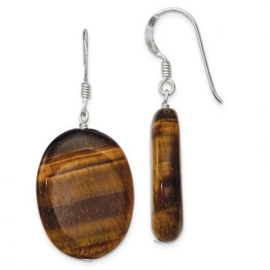 Quality Gold Sterling Silver Tiger's Eye Dangle Earrings