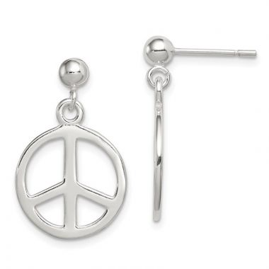 Quality Gold Sterling Silver Peace Sign Dangle Earrings