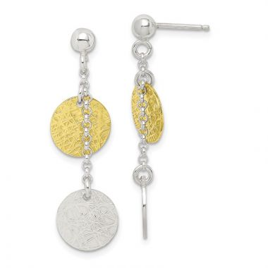 Quality Gold Sterling Silver & Vermeil Polished & Textured Dangle Earrings