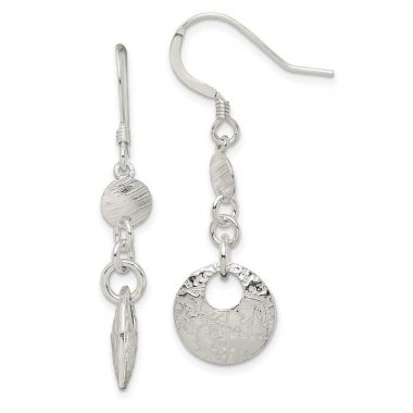 Quality Gold Sterling Silver Polished & Textured Fancy Round Dangle Earrings