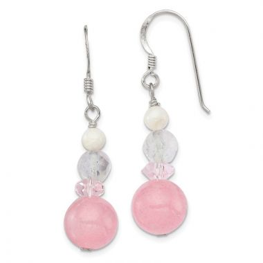 Quality Gold Sterling Silver Pink & White Crystal Jade Mother of Pearl Dangle Earrings