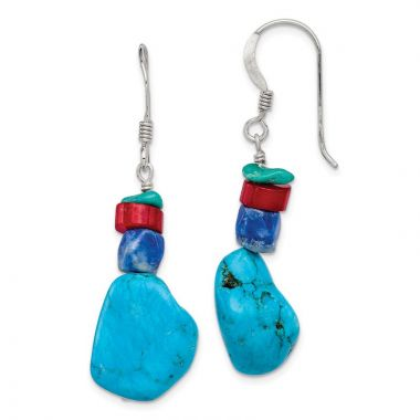 Quality Gold Sterling Silver Red Coral Howlite Lapis & Turquoise Dangle Earrings