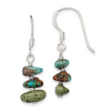 Quality Gold Sterling Silver Turquoise Chip Dangle Earrings
