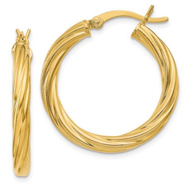 Quality Gold Sterling Silver Gold-flash plated Twist 25mm Hoop Earrings