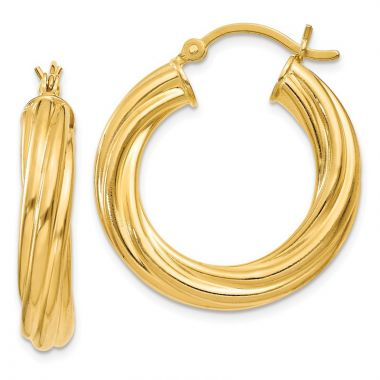 Quality Gold Sterling Silver Gold-flashed Wide Ribbed Twist 25mm Hoop Earrings