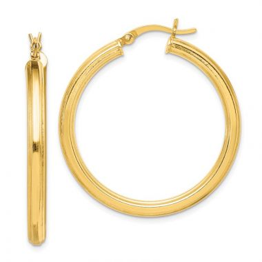 Quality Gold Sterling Silver Gold-flashed 35mm Grooved Hoop Earrings