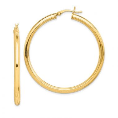 Quality Gold Sterling Silver Gold-flashed 45mm Grooved Hoop Earrings