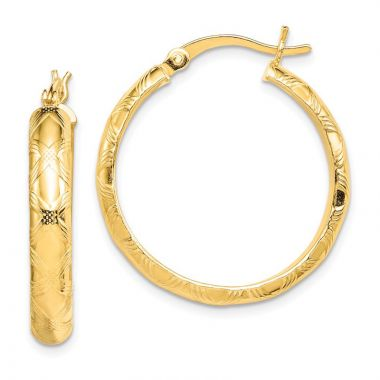 Quality Gold Sterling Silver Gold-flashed Bamboo Patterned 25mm Hoop Earrings